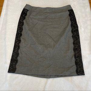 Loft Gray & Black Lace Pencil Skirt Size 0P